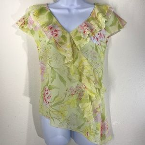Together Yellow and Pink Floral Blouse Size 4